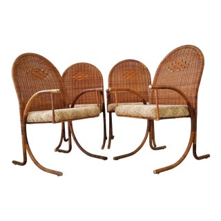 Vintage McGuire Style Woven Wicker Arm Dining Chairs - Set of 4 For Sale