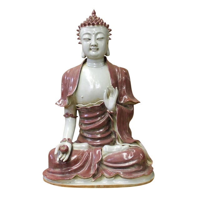 Vintage Chinese Sitting Buddha With Bowl Statue For Sale