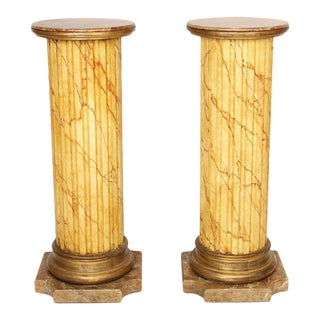 Mariano Garcia Faux Marble Pedestals - A Pair For Sale