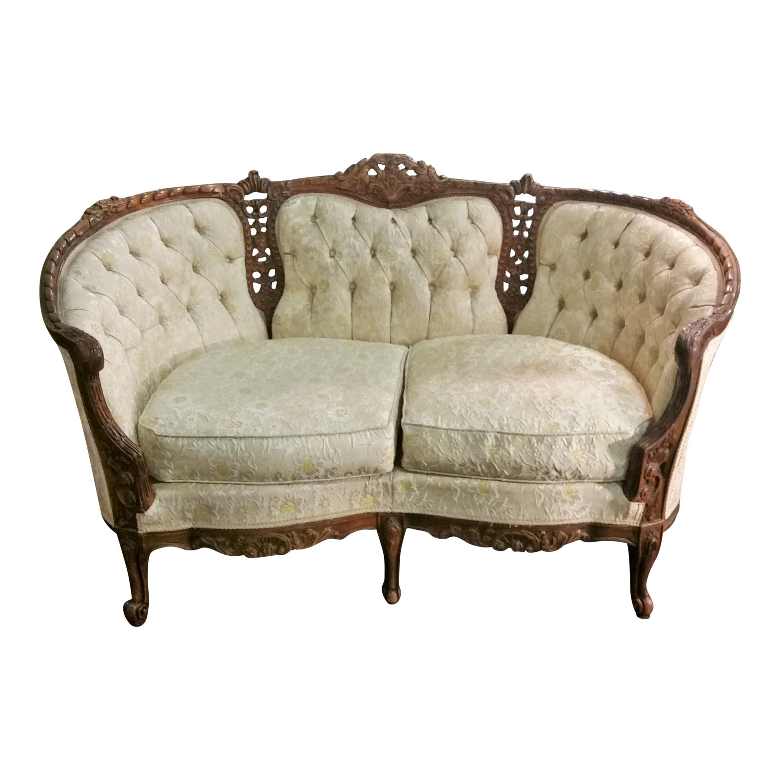 Vintage French Provincial Ornately Carved Small Settee Sofa Couch -