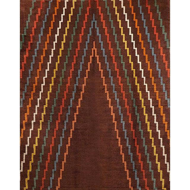 Aztec Design Geometrical Wool Rug, Circa 1940s For Sale