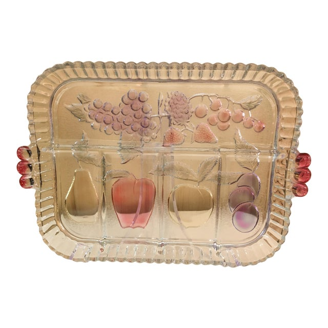 Mid-Century Modern Clear Glass Fruit Tray For Sale