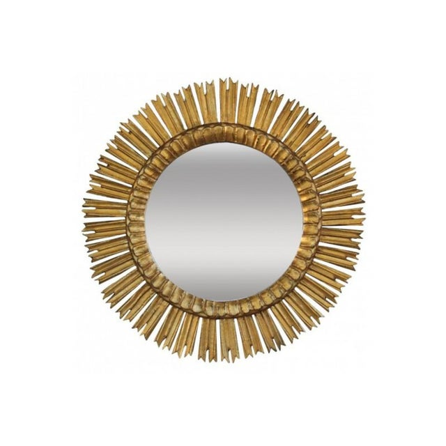 Mid-Century French Sunburst Mirror With Original Mirror Glass For Sale - Image 9 of 9