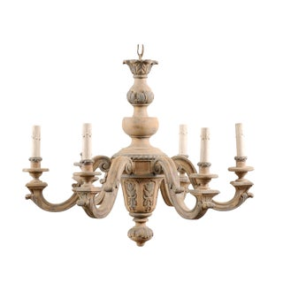 French Vintage Carved & Painted Wood Six-Light Chandelier in Light Beige & Grey For Sale