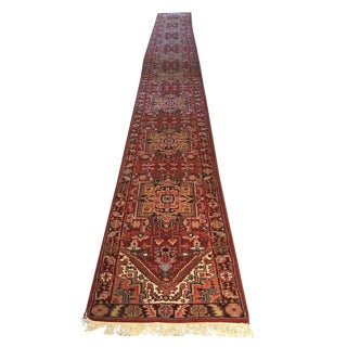 Vintage Mid-Century Indian Hand-Knotted Wool Runner Rug - 2′7″ × 26′ For Sale