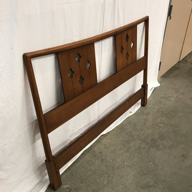 Mid-Century Clover Carved Headboard - Image 2 of 9