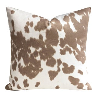 Velveteen Faux Leather Palomino Pillow Cover - 18x18 For Sale