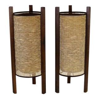 1950s Asian Modern 3-Legged Raffia Shade Table Lamps - a Pair For Sale