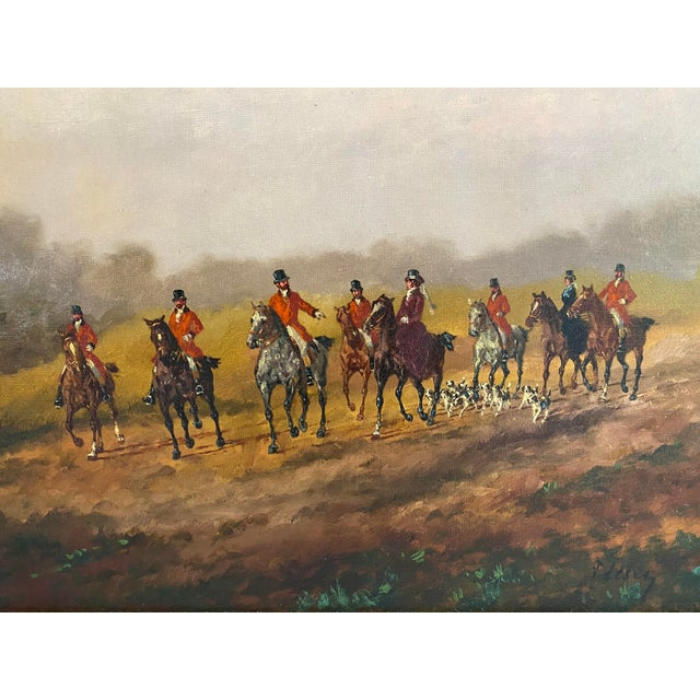 English Antique Framed Hunt Scene Painting For Sale - Image 3 of 13