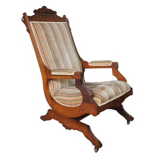 Late 19th Century Antique Buser's Champion Novelty Rocker Platform Rocking Chair For Sale