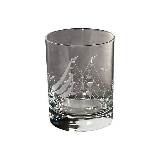 1960s Ship Etched Decanter Set, 6 Pieces For Sale - Image 5 of 8