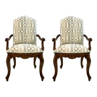 Drexel Heritage Dining Arm Chairs Pair For Sale