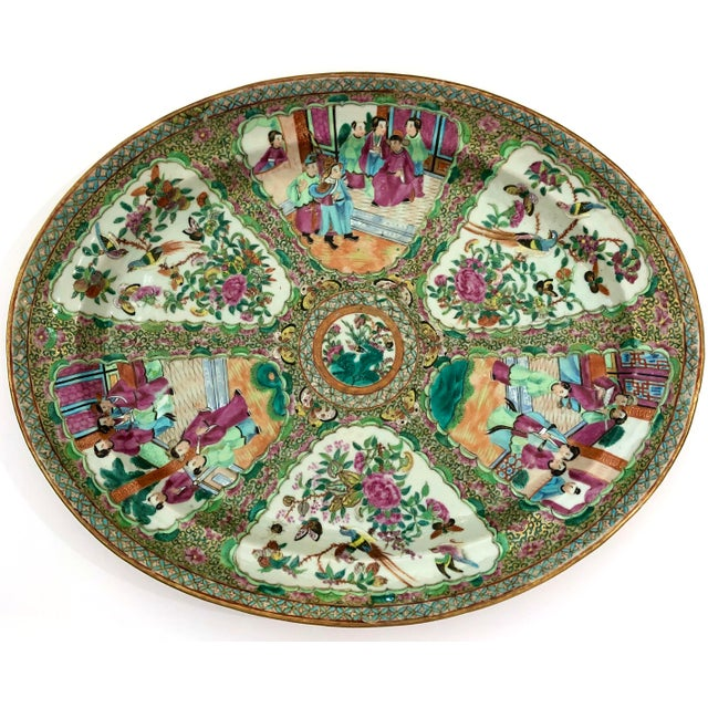 Exceptional large antique Chinese export, Canton, Rose Medallion, late 18th century oval patter. This platter is quite...
