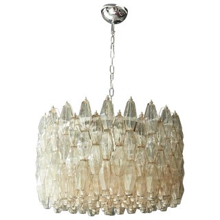 Huge Polyhedral Murano Glass Drum Chandelier in the Manner of Venini For Sale
