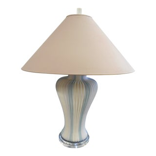 1980s Mid-Century Modern Egg Shell Ceramic & Lucite Table Lamp