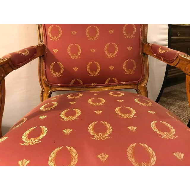 Red Open Arm Louis XV Style Feuteuil Chairs - a Pair For Sale - Image 8 of 9