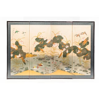 "Lawrence & Scott ""Lotus Pond in Summer"" Chinoiserie 4-Panel Screen Painting For Sale"