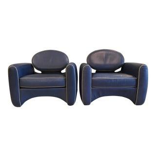 Emiel Veranneman Mid-Century Modern Osaka Leather Club Chairs - a Pair For Sale