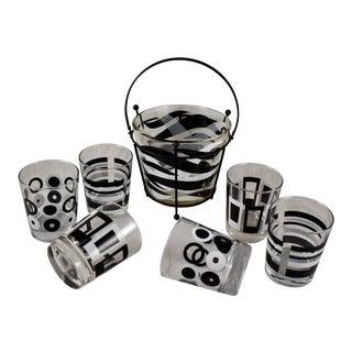 Mid-Century Modern Geometric & Zebra Print Black & White Barware, S/8 For Sale