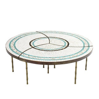 Three-Part Bronze and Mosaic Round Coffee Table For Sale