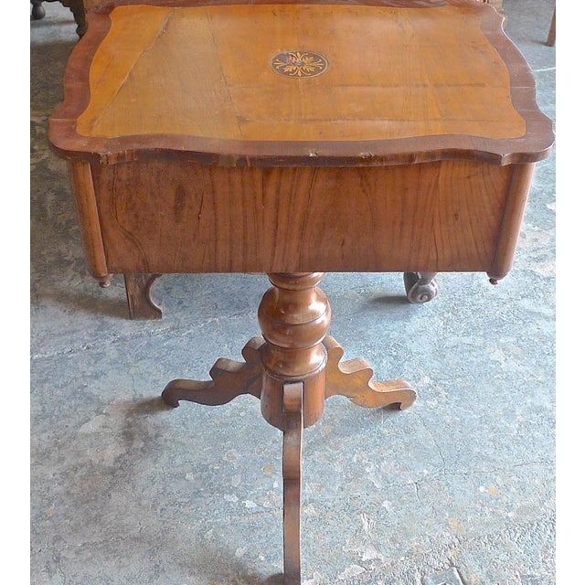 19th Century French Two Drawer Sewing Table With Inlay Top For Sale - Image 9 of 13