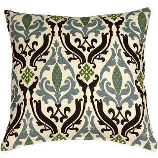 Linen Damask Print Blue 18x18 Pillow For Sale