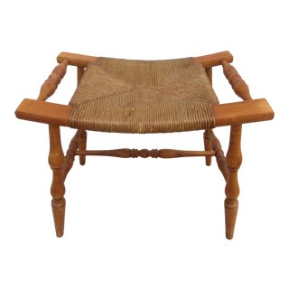 Vintage Mid Century Wooden Saddle Stool For Sale