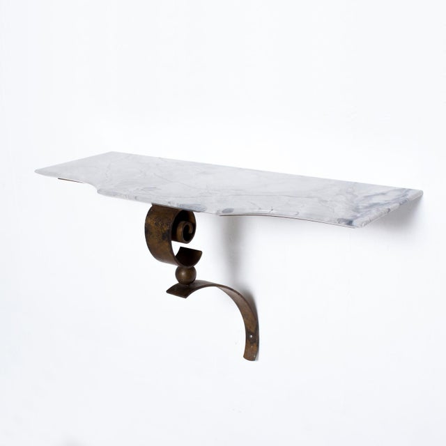 Neoclassical Mexican Modernist Iron-Marble Wall Console Attr. Arturo Pani For Sale - Image 10 of 10