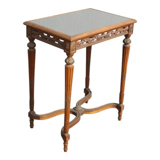 Antique French Louis XVI Side Entry Table Ornately Carved W Smokey Glass Top For Sale