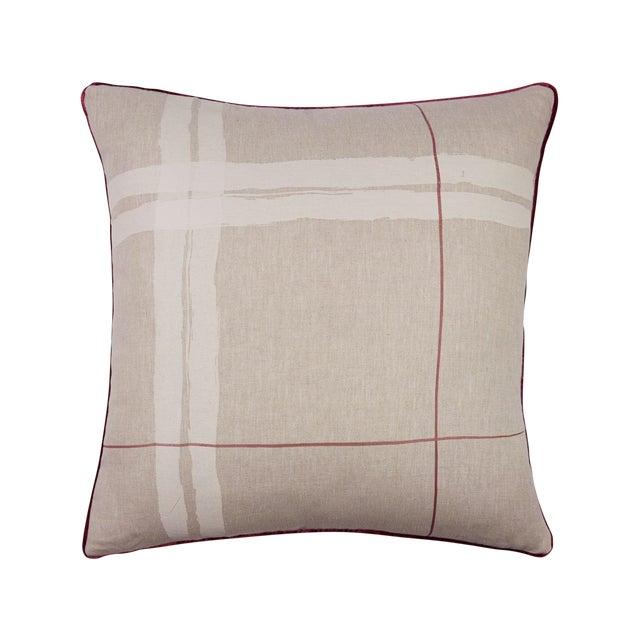 "Brushstroke Plaid 22"" Pillow, Cream - Image 1 of 4"