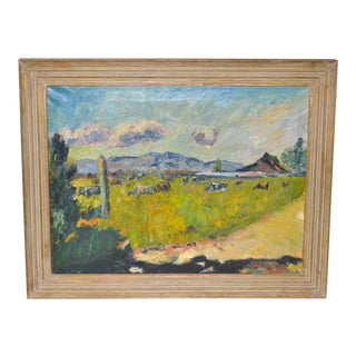 Western Mountain Landscape with Farm Impressionist Oil Painting
