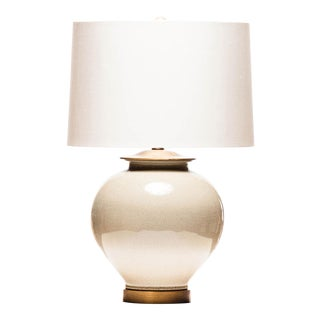 Lawrence & Scott Kame Porcelain Table Lamp in Oyster Crackle For Sale