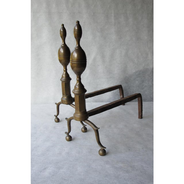 Brass & Iron Lemon Top Andirons - A Pair - Image 2 of 11