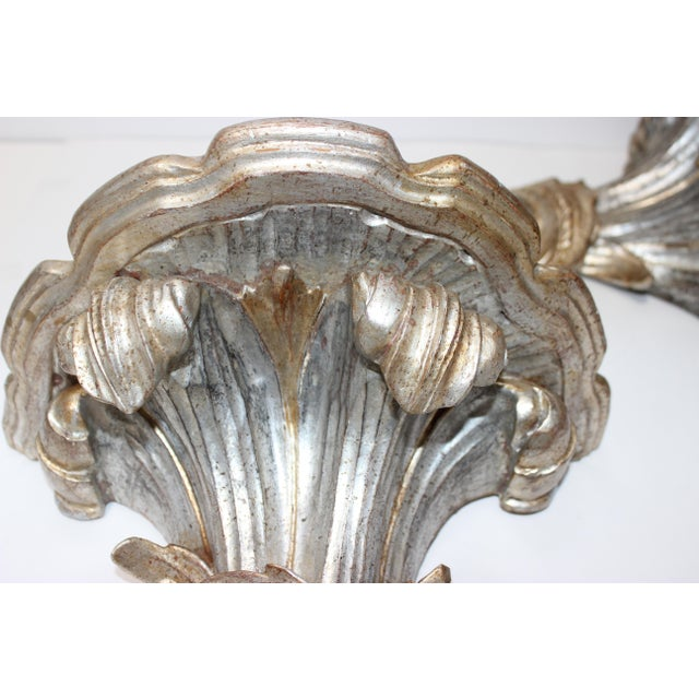 Mid-Century Louis XV Style Brackets Silver Leaf - a Pair For Sale In West Palm - Image 6 of 11