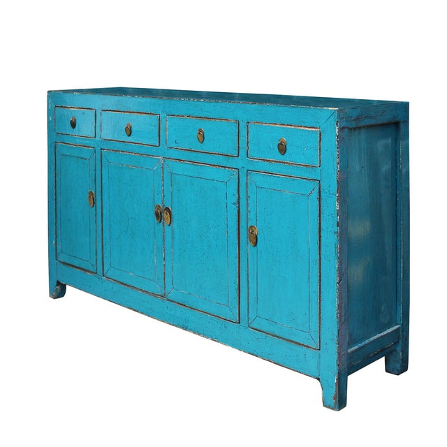 Elm Chinese Distressed Rustic Blue Sideboard Buffet Table Cabinet For Sale - Image 7 of 8