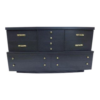 Handsome Asian-Black Brass Handle High Style Dresser For Sale