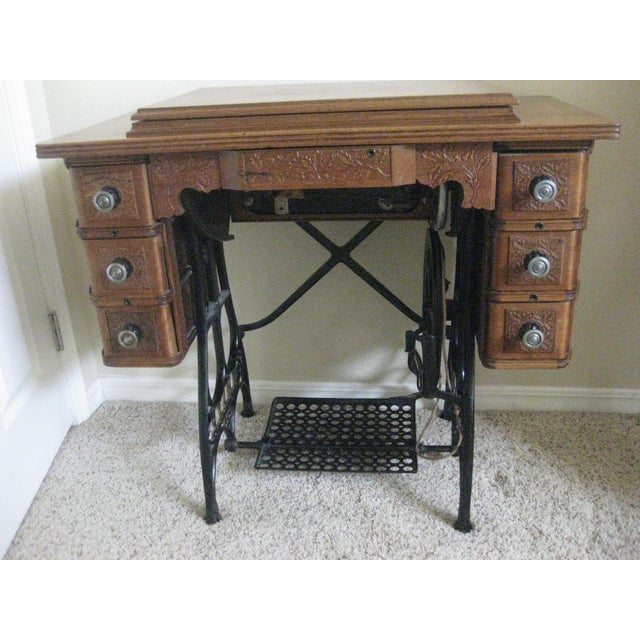 Cabinet With Original Sewing Machine For Sale - Image 10 of 10
