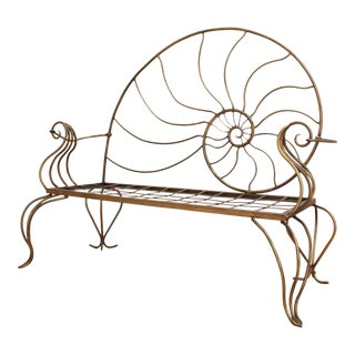 Hand Forged Louis XV Nautilus Bench- Vintage Wrought Iron Settee W/ Bronze Patina