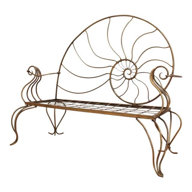Hand Forged Louis XV Nautilus Bench- Vintage Wrought Iron Settee W/ Bronze Patina For Sale