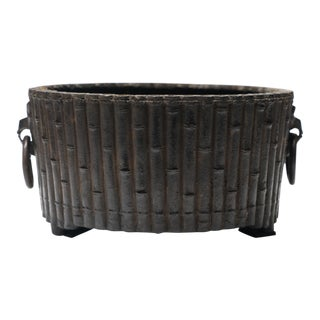 Vintage Faux Bamboo Metal Cache - Pot For Sale