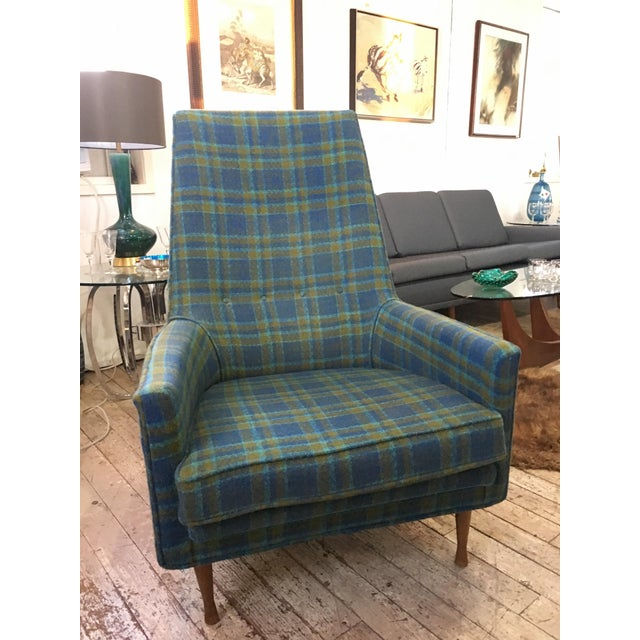 A handsome Mid-Century Modern chair designed by Paul Mccobb. The vintage Plaid fabric on this is so fun and would add a...
