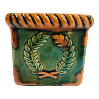 Vintage Laurel Wreath Terra Cotta Planter Cachepot For Sale