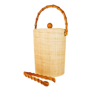 Vintage Rattan Ice Bucket Bamboo Tongs Mid Century Bar Barware - 2 Pieces For Sale