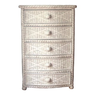 Vintage Tall White Wicker Dresser For Sale