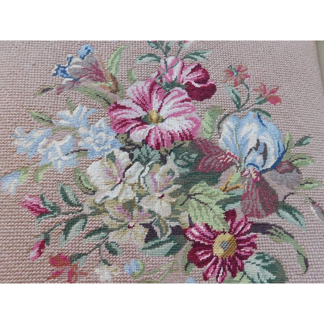 1970s Vintage Petit Point Floral Bench/Table For Sale - Image 5 of 13