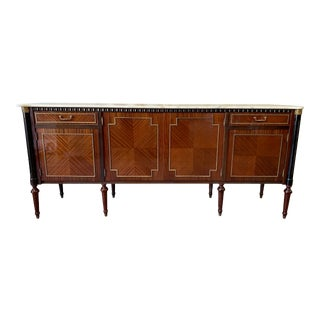 Louis XVI Style French Onyx Marble Top Sideboard Credenza - 20th C For Sale