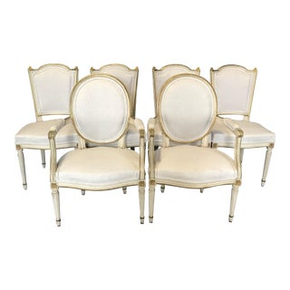 Antique Painted Louis XVI Gustavian Style Dining Chairs -Set of 6 For Sale
