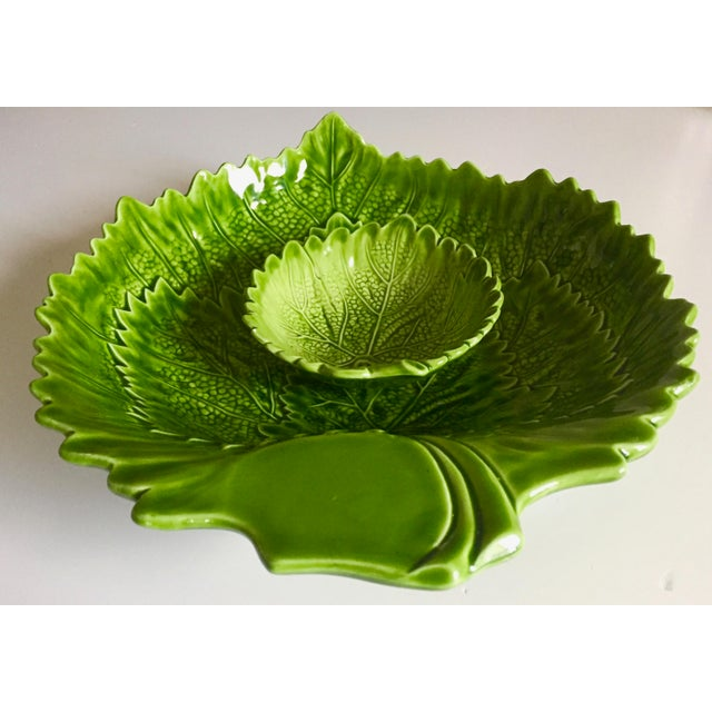 Italian Green Majolica Leaf Bowls-A Pair For Sale - Image 9 of 13