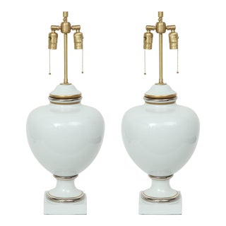 Richard Ginori Porcelain Lamps - a Pair For Sale