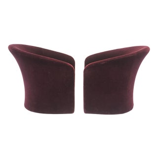 Dark Plum Mohair Club Chairs by Massimo Vignelli For Sale